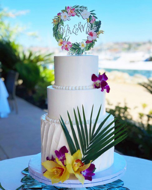 Cake With Tropical Wedding Flowers
