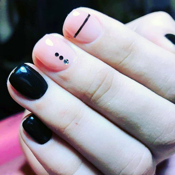 Calamine Pink And Black Nails Women