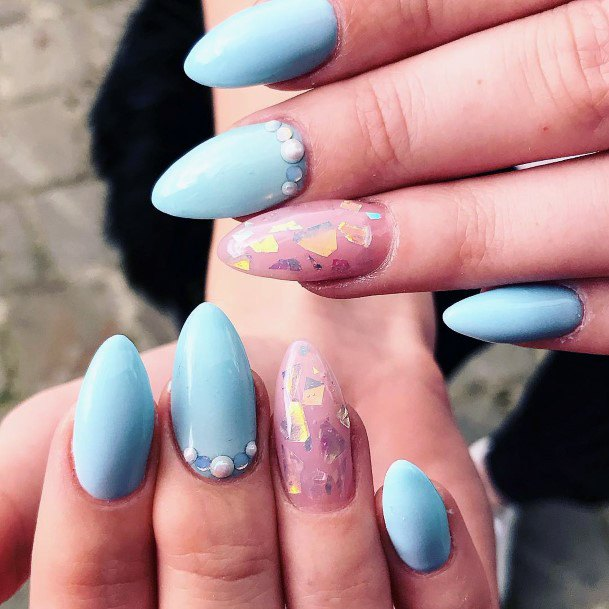 Calm Blue Glass Nails With Rhinestones For Women
