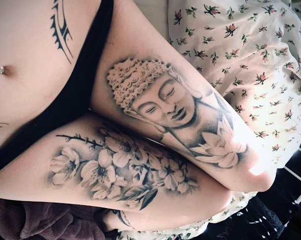 Calm Buddha Cherry Blossom Tattoo Womens Thighs Realistic