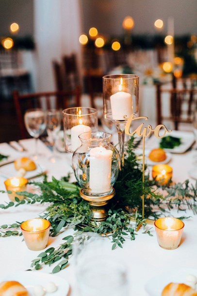 Candle Lights November Wedding Flowers