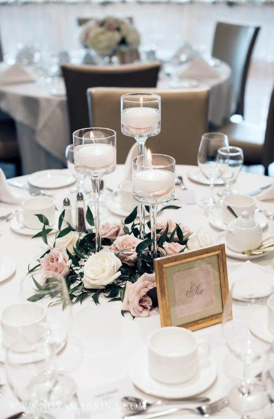 Candles And Blush Wedding Flowers Dining Decor