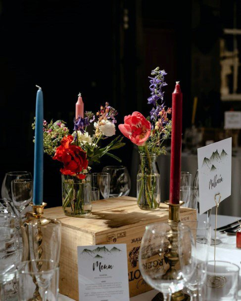Candles And May Wedding Flowers