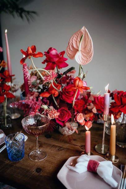 Candles And Red Wedding Flowers