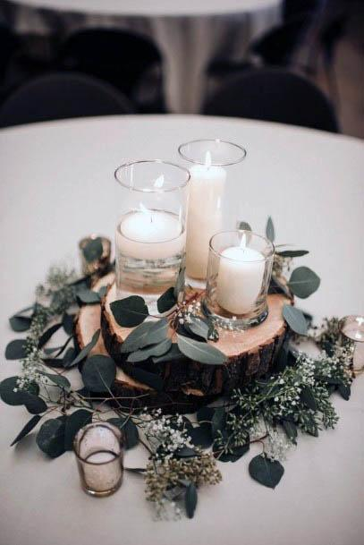 Candles And Rustic Wedding Flowers