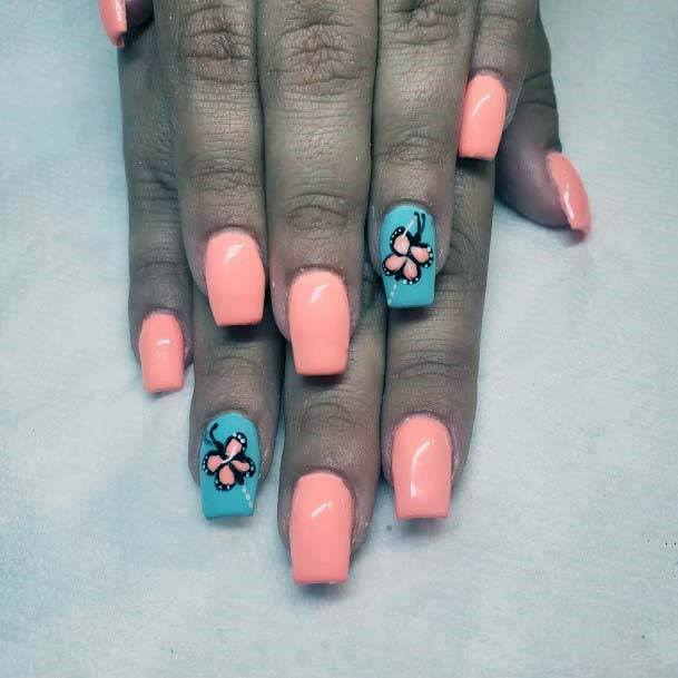 Candy Orange And Blue Nails Floral Art For Women