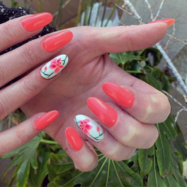 Candy Orange Orchid Nail Art