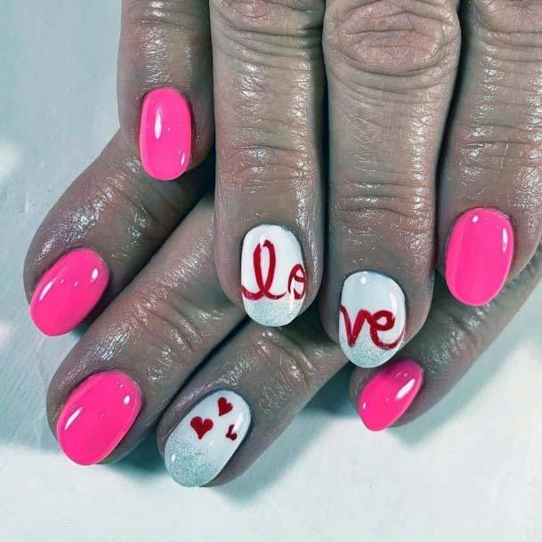 Candy Pink And Red Love Nails For Women