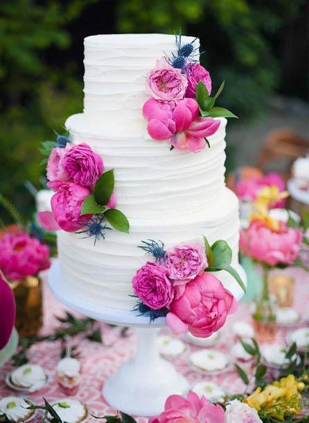Candy Pink Wedding Flowers Cake