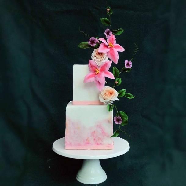 Candy Pink White Square Wedding Cake