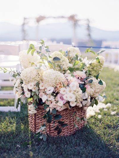 Cane Basket Hydrangea Wedding Flowers