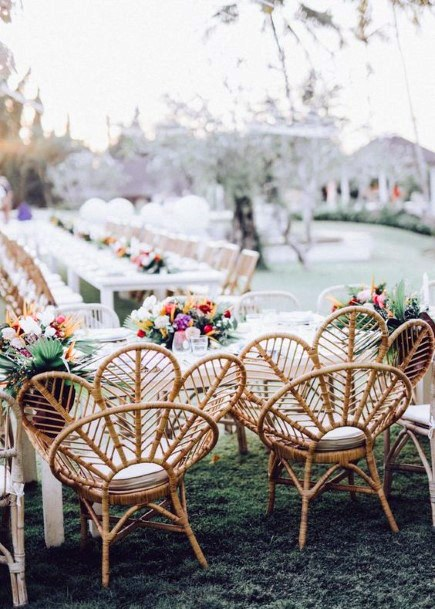 Cane Chair And Hawaiian Wedding Flowers