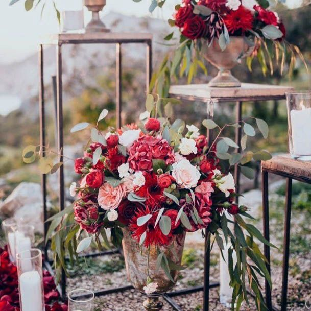Captivating Red And White Wedding Flowers