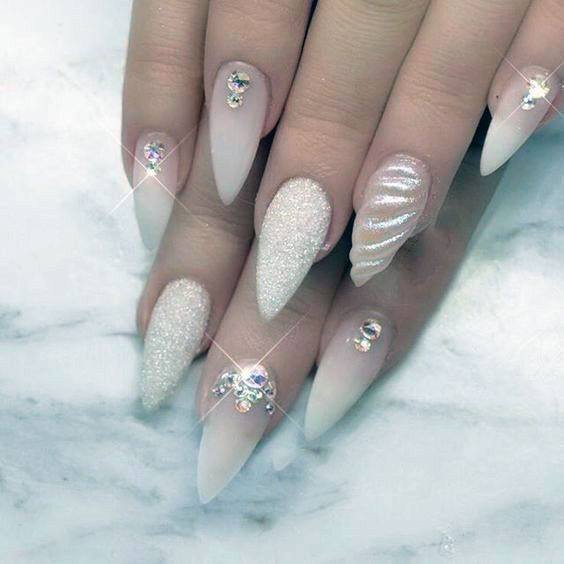 Captivating Rhinestones Art On White Sugar Nails For Women