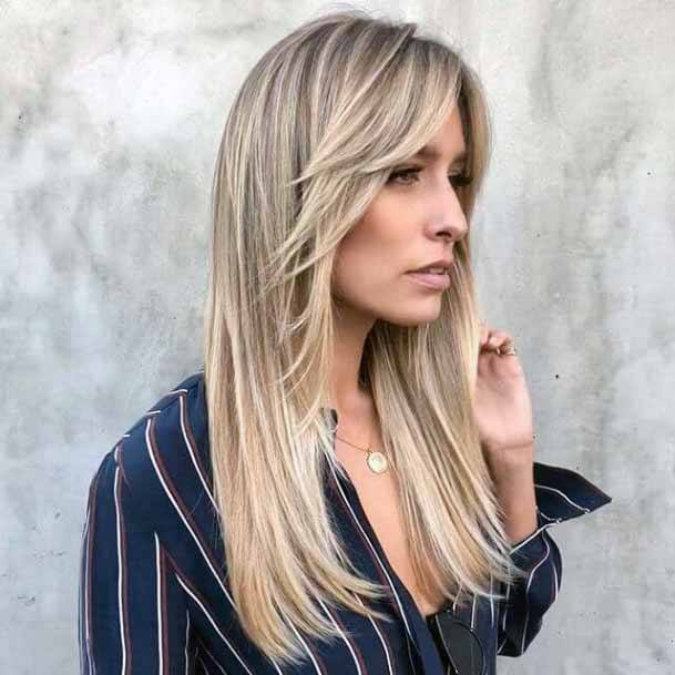 Cascading Blonde Hair With Layered Fringe Hairstyle For Women