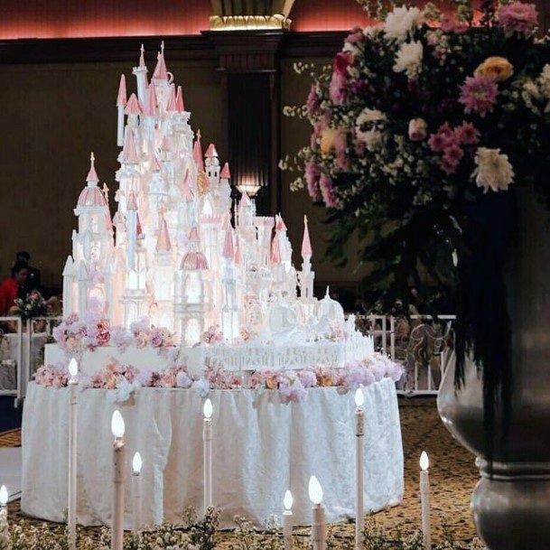 Castle Majestic Unique White Wedding Cake