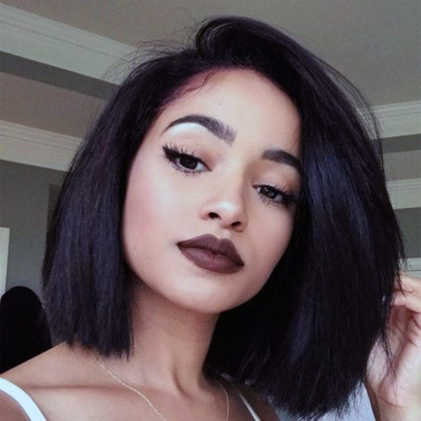 Casual Black Straight Haircut Women