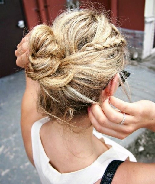 Casual Braided Bun Hairstyle For Women