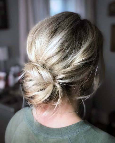 Casual Silver Toned Bun Hairstyle For Women