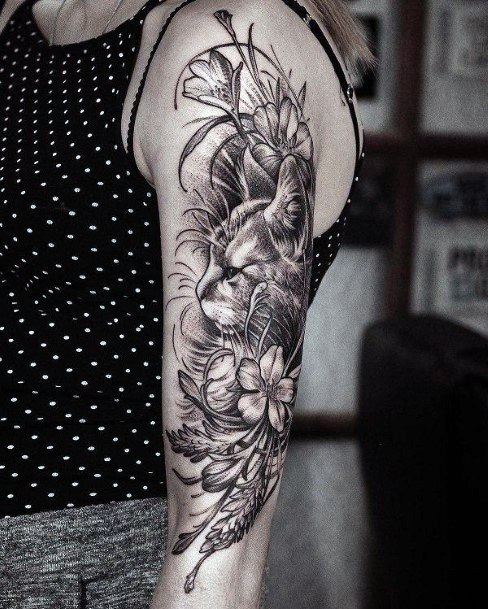 Cat And Foliage Tattoo Womens Hands