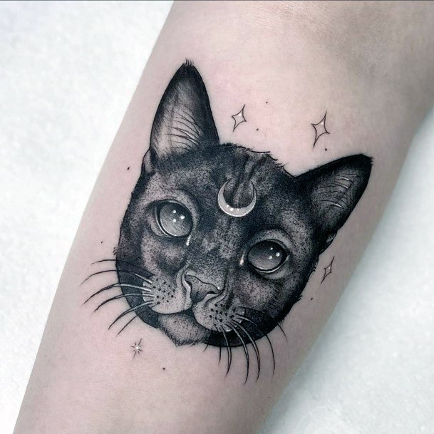 Cat With Forehead Adornment And Whiskers Tattoo For Women