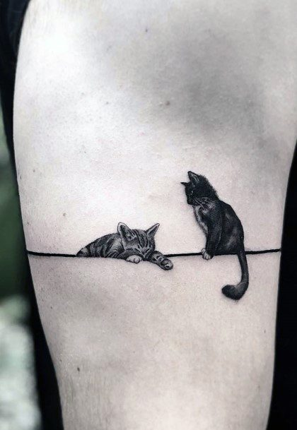 Cats On A String Tattoo For Women