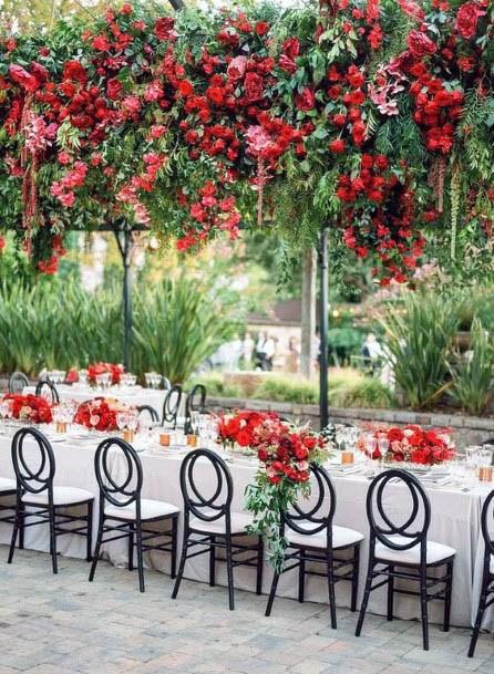 Ceiling Decor Red Wedding Flowers