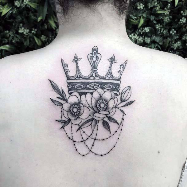 Chained Flowers And Crown Tattoo Womens Back