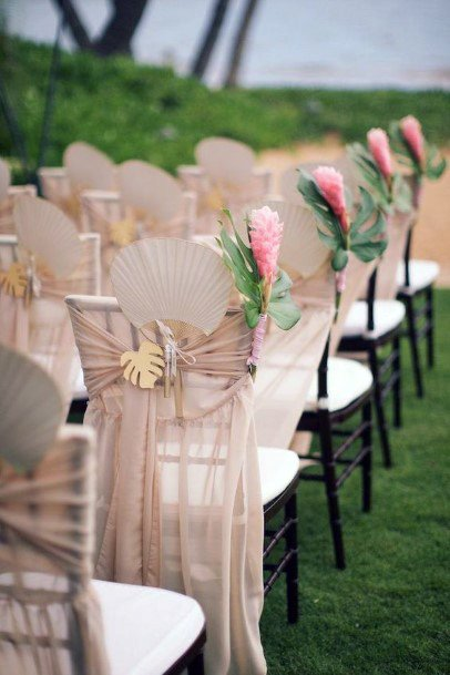 Chair Decorated With Hawaian Wedding Flowers