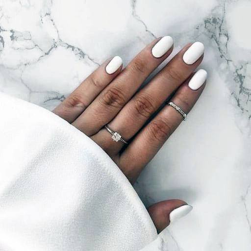 Chalky White Gel Nail For Women