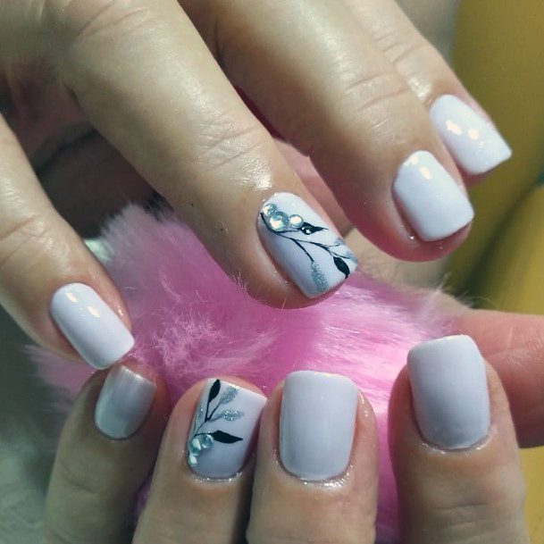 Chalky White Grey Charming Crystal Nail Women
