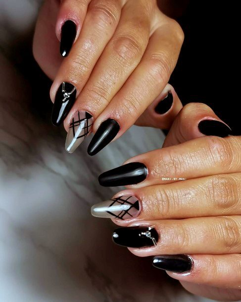 Charcoal Black Nails With Criss Cross Design And Stone Women