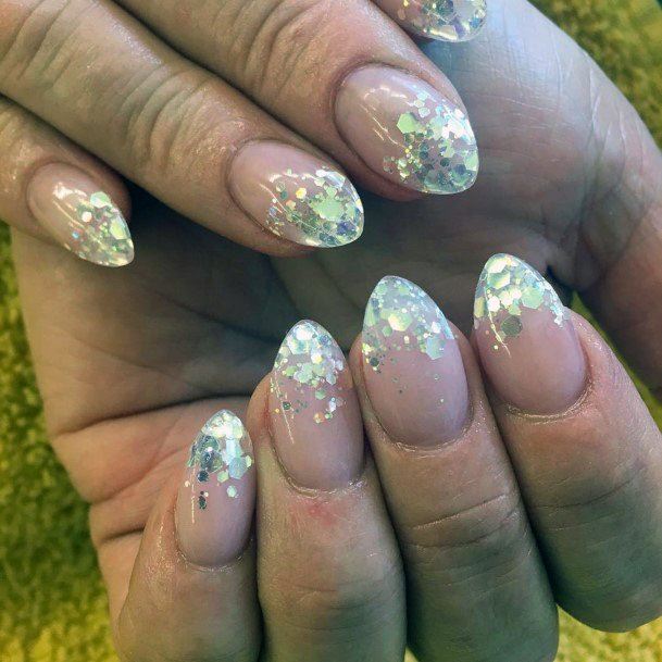 Charming Almond Shaped Nails With Sparkles Women