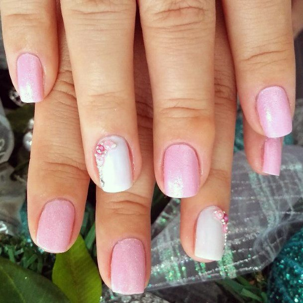 Charming Baby Pink And White Nails For Women