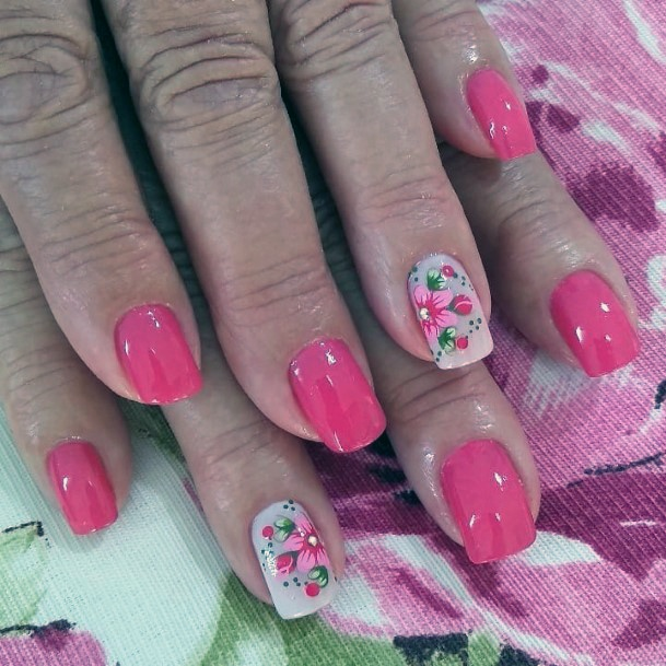 Charming Candy Pink Nails With Rhinestones Women