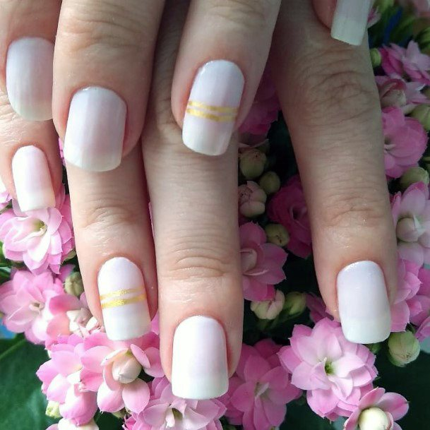 Charming Cream Polished Nails With Gold Ribbon Women