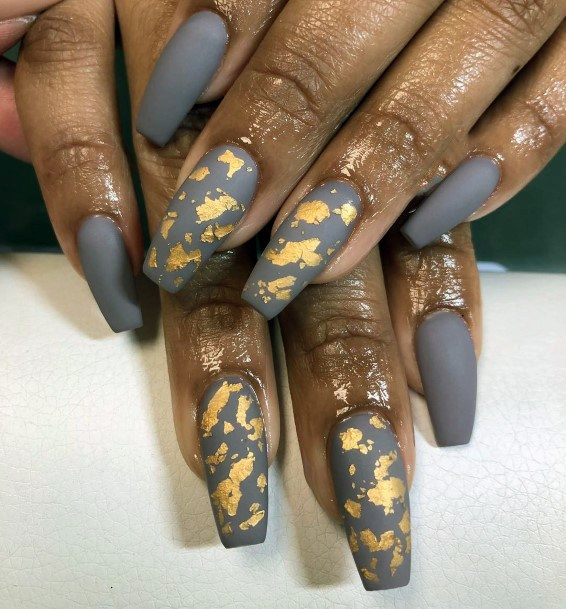 Charming Golden Foiled Nails For Women On Lucid Grey Polish