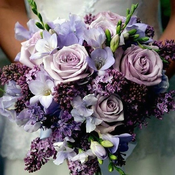 Charming Lavender Flowers Roses Bouquet