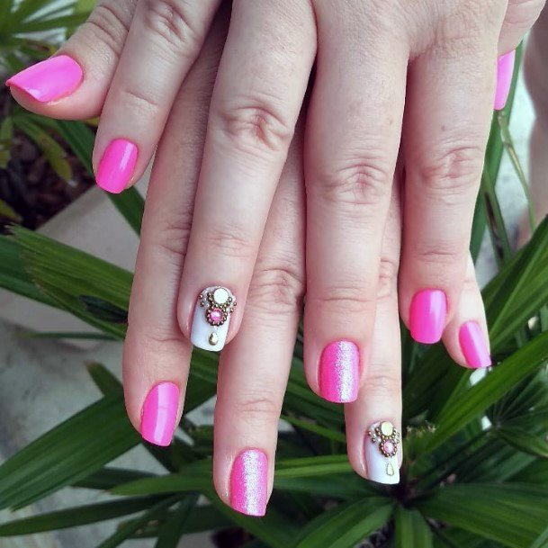 Charming Pink Nails With Rhinestone Women
