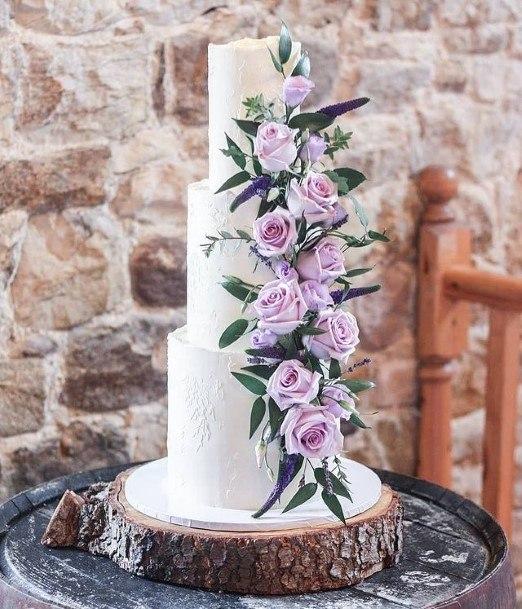 Charming Purple Roses Wedding Cake