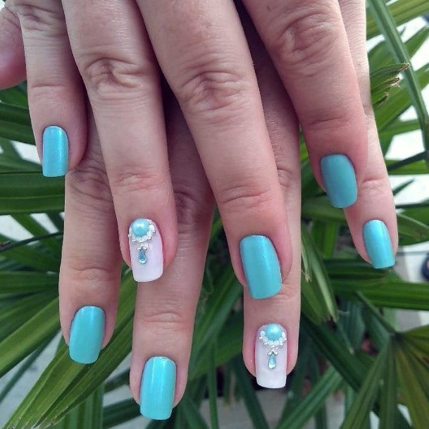 Charming Turquoise Nails With Bling Art For Women