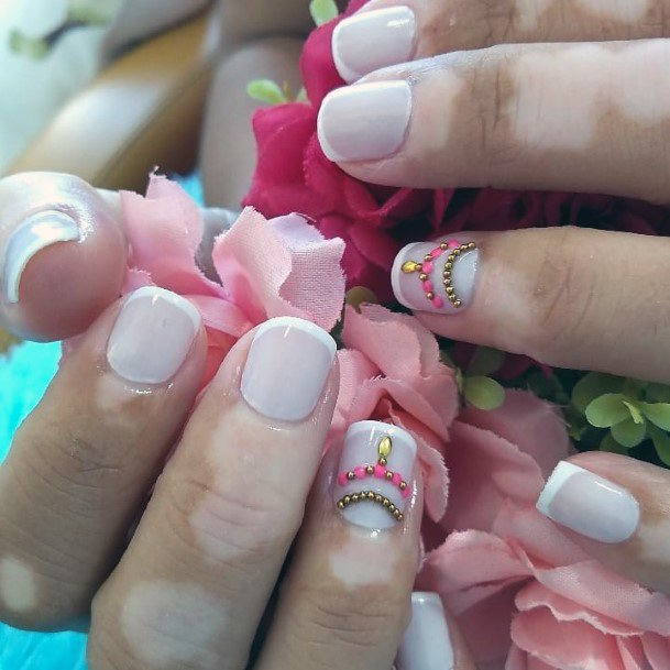 Charming White Nails With Decoration Women