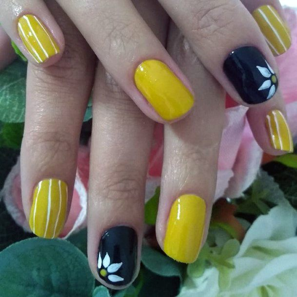 Charming Yellow And Black Nails Women