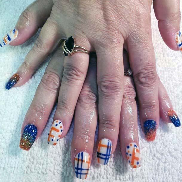 Checker Design Blue And Orange Nails Art For Women