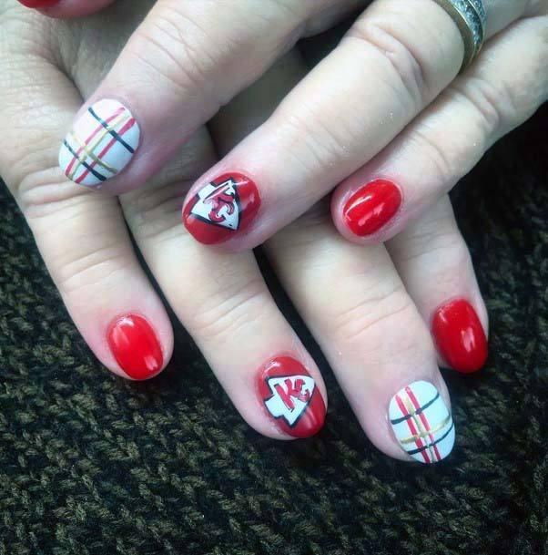 Checkered Sport Nails Red White Art For Women