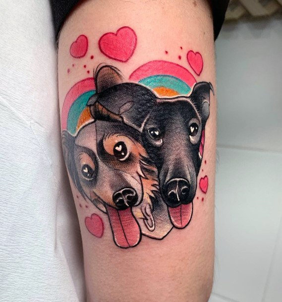 Cheerful Black Dogs Love Tattoo For Women