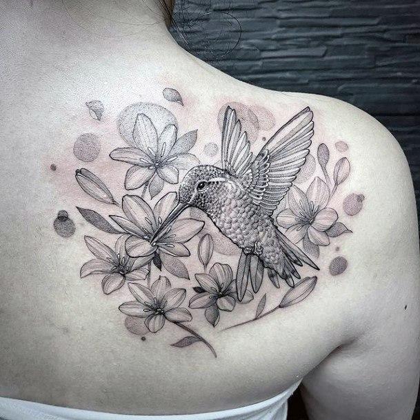 Cheerful Flowers And Hummingbird Grey Tattoo Womens Back