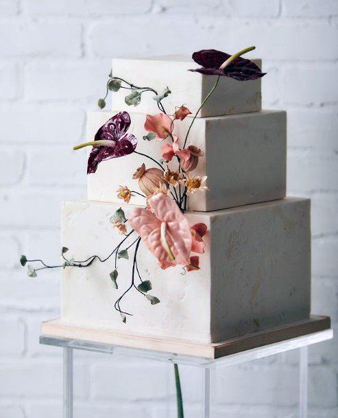 Cheerful Square Wedding Cake