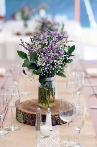 Cherishable Lavender Flowers Wedding Table Decor