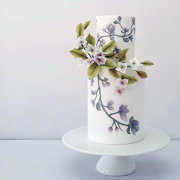 Cherry Blossom Print On Elegant Womens Wedding Cake